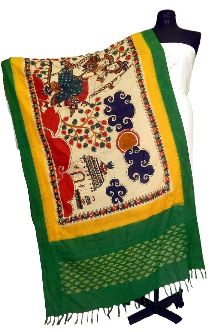 Beautiful Ikkat Hand Painted Kalamkari Dupatta made by using 100% Organic Dyes/colors This #Rakshabandhan Can #Gift out to Your Beloved sister and Make it Memorable to her. (Please Place your Order on our WhatsApp no: 8801302000)