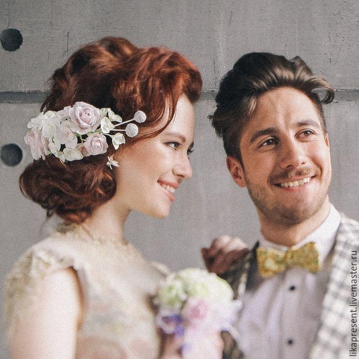 """Купить Свадебное украшение заколка """"Нежность"""". Холодный фарфор. - бледно-розовый, свадебное украшение, для свадьбы"""