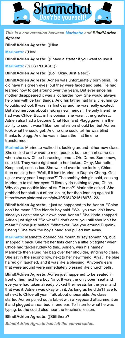 A conversation between Blind!Adrien Agreste and Marinette