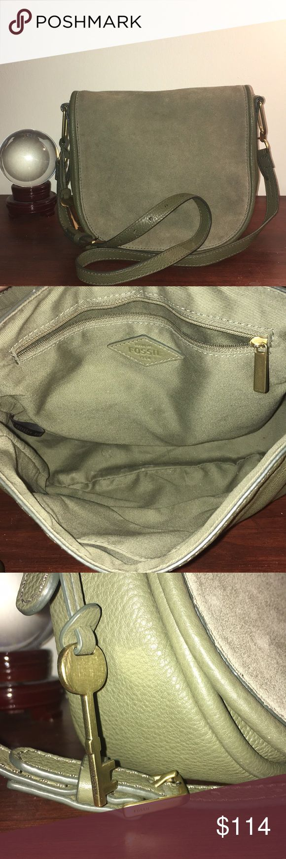 Fossil bag Forrest green fossil crossbody. Green sued flap  buckle adjust strap. Very lightly used like new. Super cute, not too small good medium sized cross body. Fossil Bags Crossbody Bags