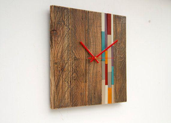 Reciclado madera pared reloj moderno reloj de por ArtGlamourSligo