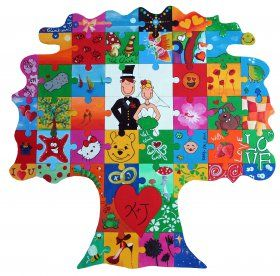 Hochzeitsspiel - Holz Puzzle Baum zum Bemalen als Hochzeitsgeschenk für Hochzeitsgäste