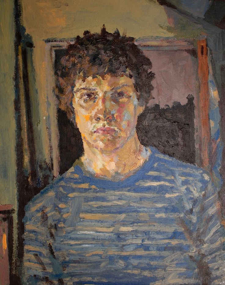 Stan's self - portrait in oil paint - observed and painted directly from the mirror as part of his AS coursework, 2014.  Entered for the RBA A Level competition 2015.