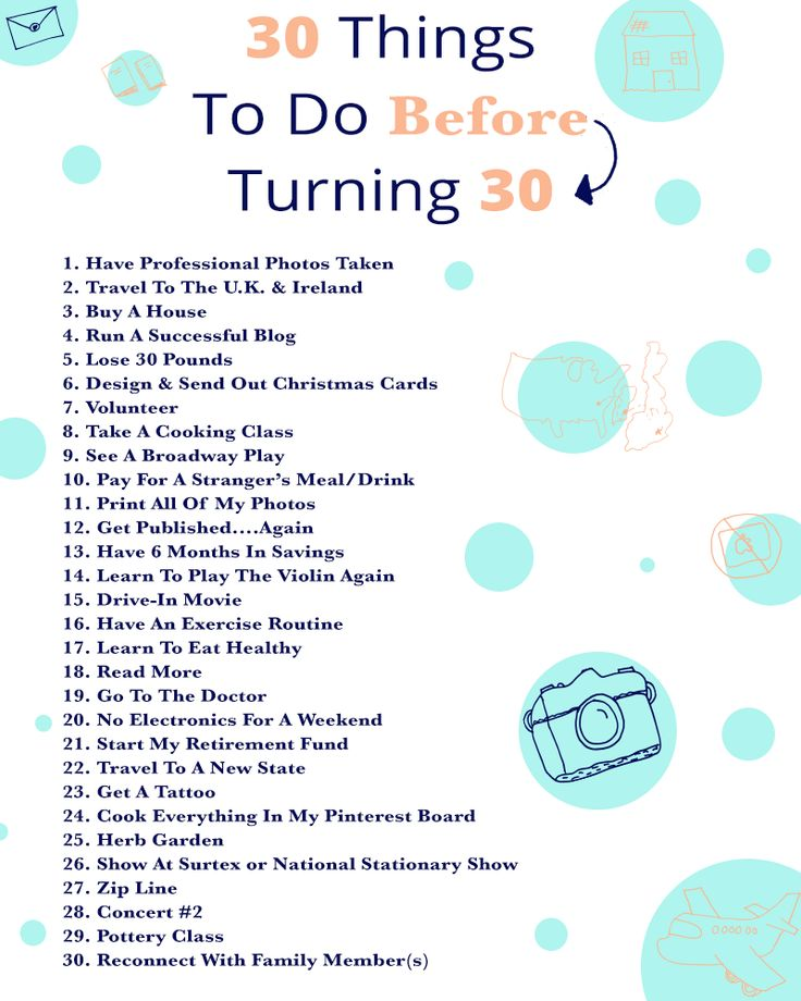 30 Things To Do Before I Turn 30 | East Coast Charm a few of these really don't apply to me at all...