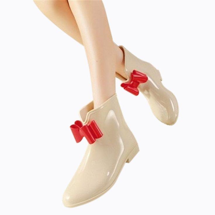 New Women Fashionable Flower Bowknot Decor Flat Heel Antiskid Waterproof Short Rain Boots White & Red