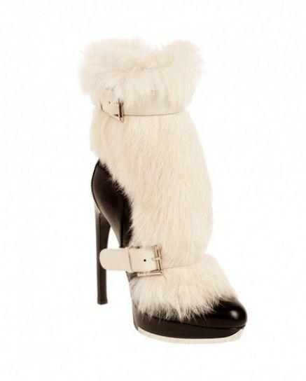 Stivali neri con pelliccia bianca Alexander McQueen
