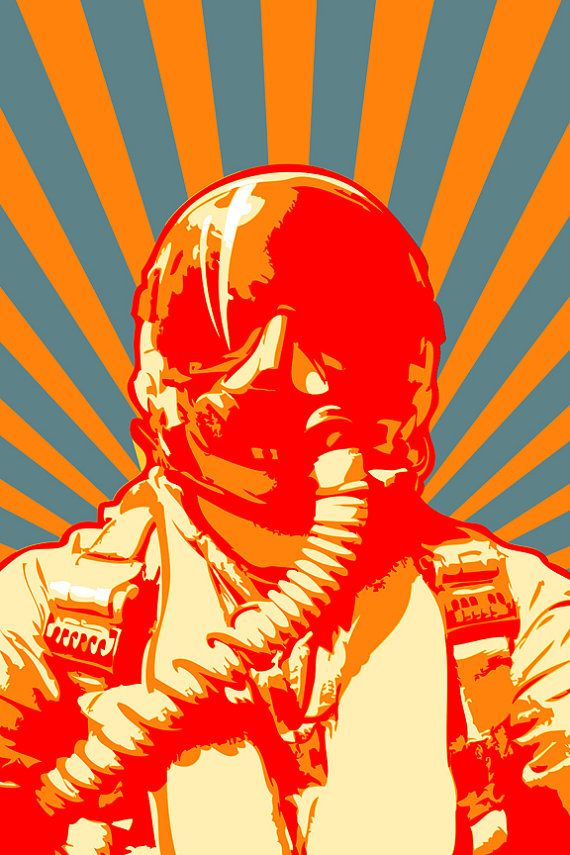 Airplane decor canvas art print of a military jet fighter pilot in a Pop Art style, available in 18x24 or 24x36.