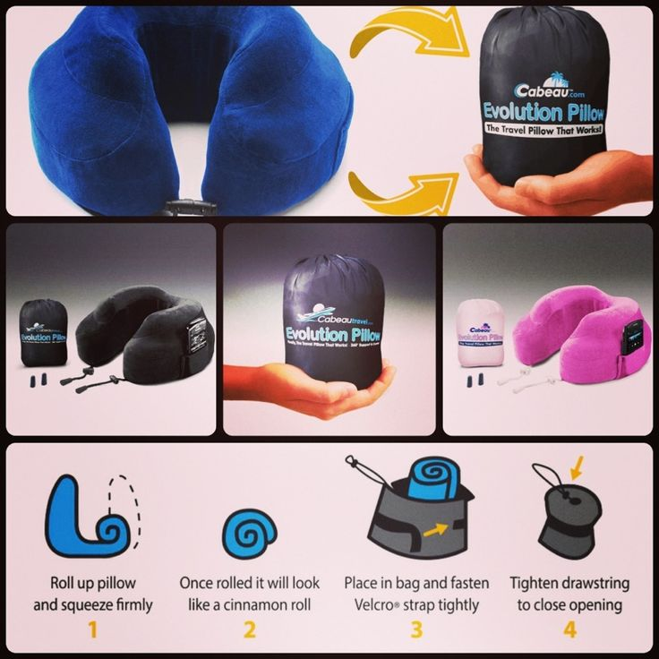 our cabeau memory foam evolution travel pillow comes with a compact travel bag that will compress