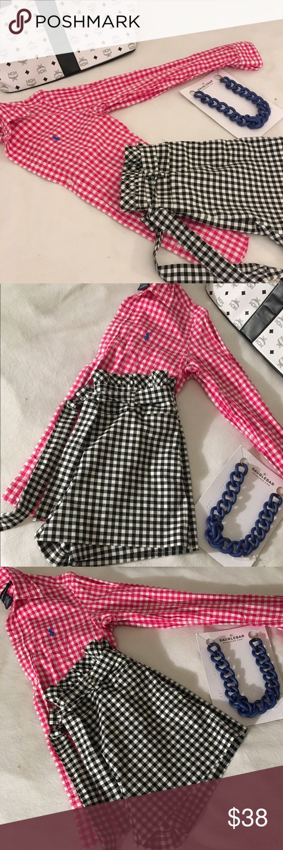 Ralph Lauren Women's Pink Gingham Oxford Shirt 4 Super cute Ralph Lauren Women's Pink Gingham Oxford Shirt  with blue Pony in excellent condition. Perfect addition to any preppy and stylish wardrobe Ralph Lauren Tops Button Down Shirts