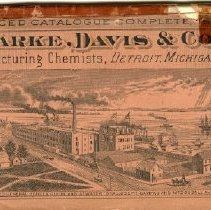 Image of  Artifact 104 page, 1886 catalog for Parke, Davis and Company. Sewn in a red cover bearing a lithograph of the Parke, Davis and Company laboratory and general offices between Guion Street, Atwater Street, Joseph Campau Street, and McDougall Avenue