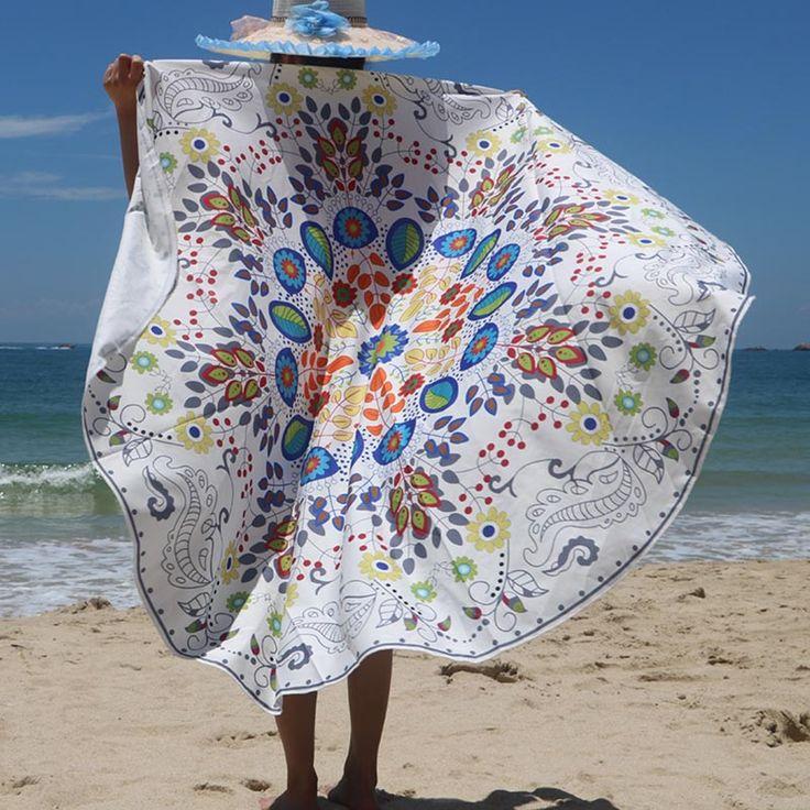 Summer Large Mat Blend Printed Round Beach Towels With Tassel Circle Beach Towel Serviette Tapete Doormat Carpet Kitchen 2017