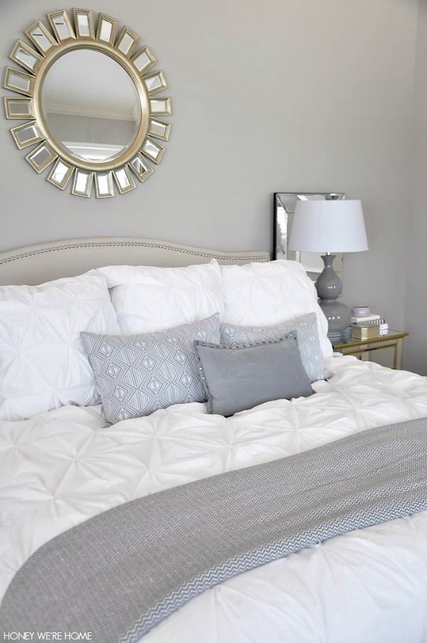 Neutral Master Bedroom White Bedding Gray Pillows And