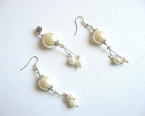 Set mireasa cercei si pandant perle Mallorca  - set nunta - cadou mireasa