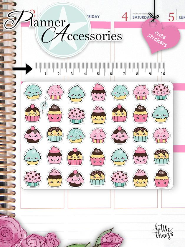 Sticker - Kawaii Cupcake Sticker Kawaii Cupcakes Sticker 659 - ein Designerstück von PlannerAccessories bei DaWanda