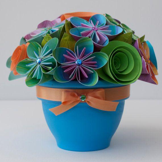 Potted Paper Flower Bouquet - Waikiki