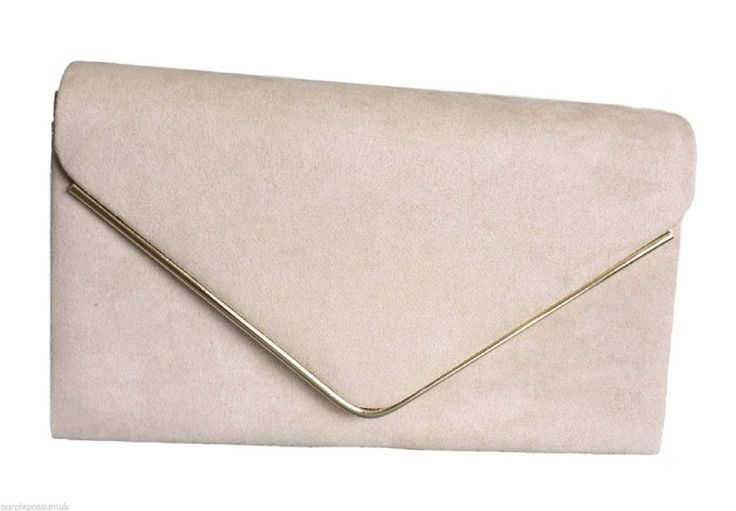 A beige nude coloured faux suede clutch bag shoulder bag The bag fastens with a flap over the top and a concealed metal magnetic stud it comes with a