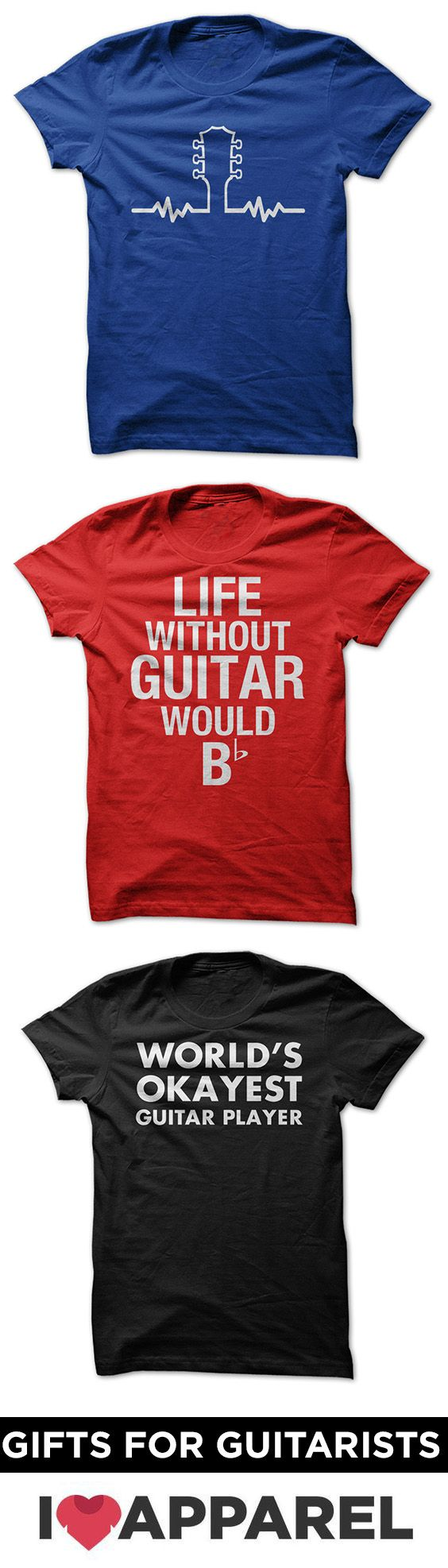 Shirts for guitar players. Check out our huge selection of guitar shirts. Great gift idea for that guitarist in your life or for yourself.