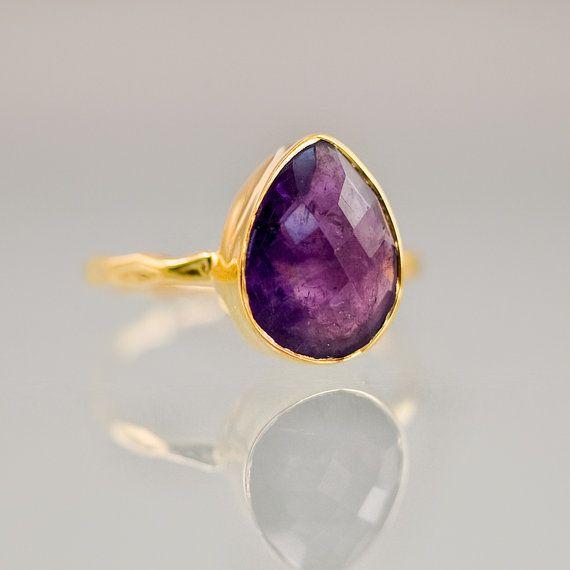 Gemstone Ring  Purple Amethyst Bezel Ring Gemstone by delezhen, $66.00