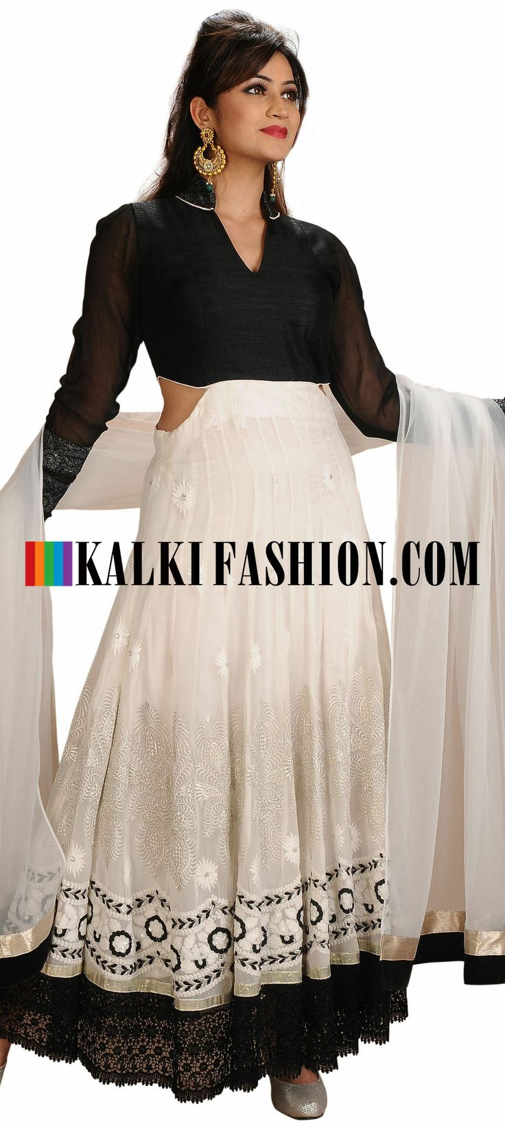 Buy Online from the link below. We ship worldwide (Free Shipping over US$100)  http://www.kalkifashion.com/white-and-black-anarkali-suit-embellished-in-croquet-lace.html