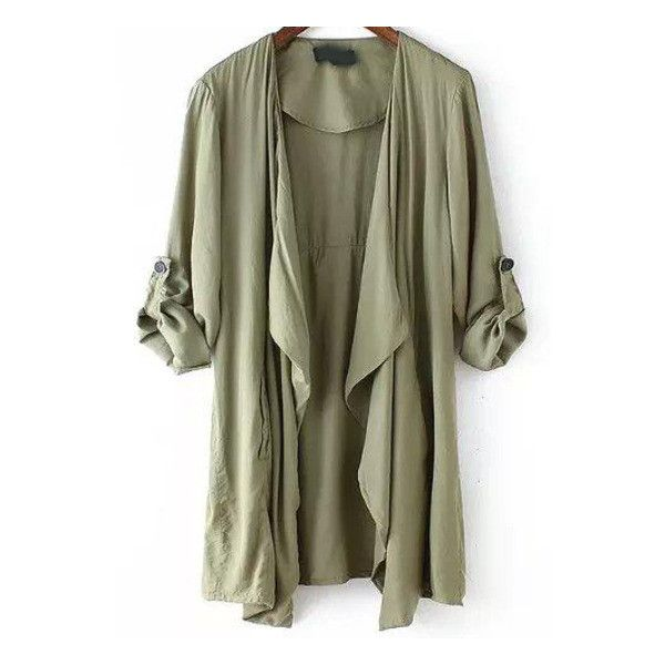 SheIn(sheinside) Army Green Long Sleeve Asymmetrical Trench Coat found on Polyvore featuring polyvore, women's fashion, clothing, outerwear, coats, jackets, tops, cardigans, green and olive green coat