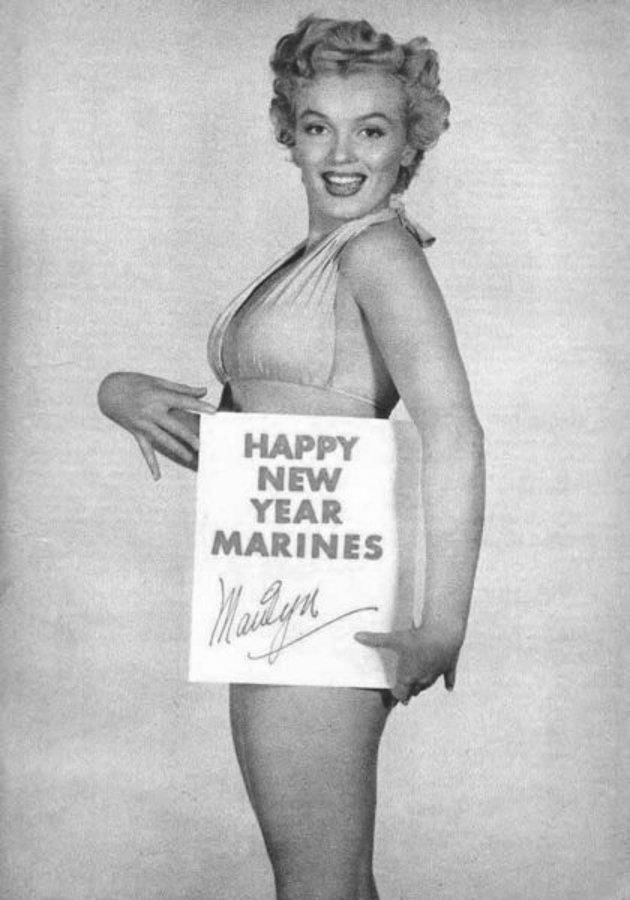 Marilyn Monroe New Years Quotes: Marilyn Monroe Wishing The Marines A Happy New Year