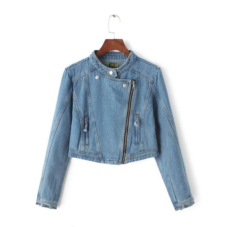 Женские джинсы куртки короткие топы 2016 весна и осень длинными рукавами джинсовой полупальто старинные разорвалкупить в магазине COCOS  KISSнаAliExpress
