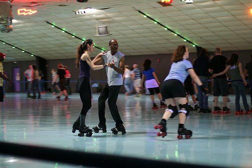 Playland Skate Center here in Austin, Texas.  Every Tuesday night is adult only night.  ❤