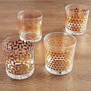 Metallic-Print Glassware (Set of 4)