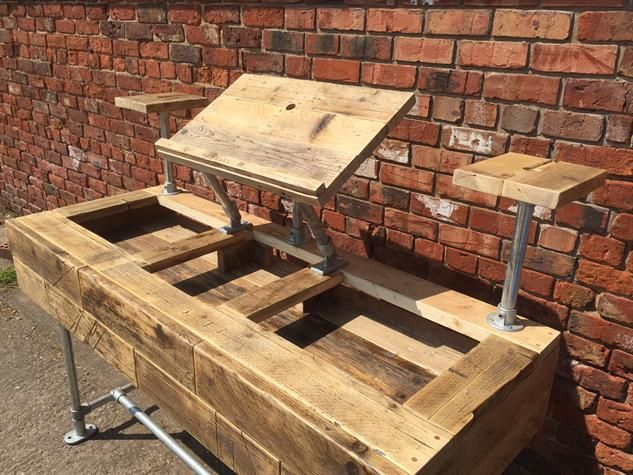 Industrial Style Reclaimed Wood DJ Deck Stand - www.reclaimedbespoke.co.uk