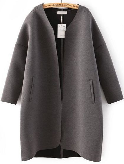 Grey Long Sleeve Pockets Loose Coat - abaday.com