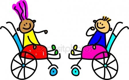 Ilustración de dibujos whimsical de un grupo de niños discapacitados felices jugando juntos