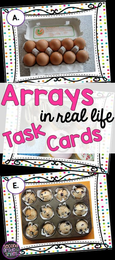 Looking for fun, new resources for teaching arrays in 2nd grade?  This set of 20 task cards provides photographed examples of real life uses for arrays. Great for small group math centers, whole class scoot games, or math tubs!