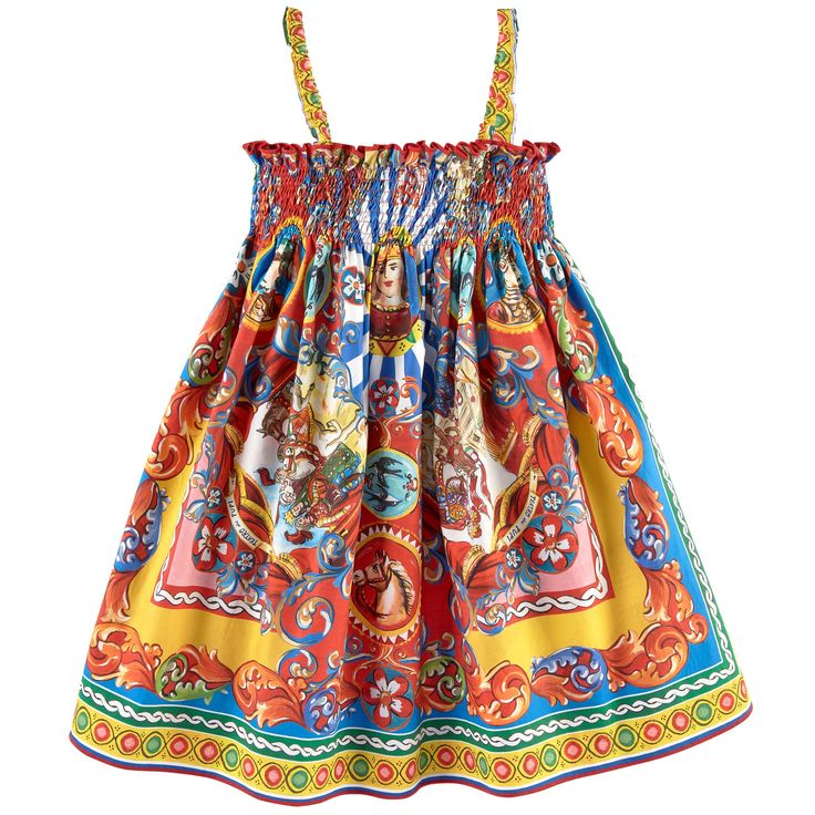 Cotton poplin Dress inspired by the women's wear range Sundress Light and flowing Straps on the shoulders Smocked chest Smocked back Pleats under the chest Very flared bottom Puff shape at the bottom Exclusive print - $ 211.00