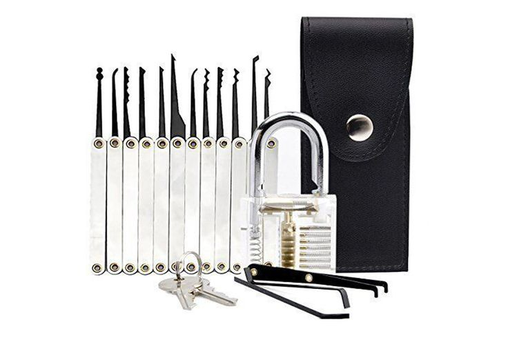 Transparent Practice Padlock 12 Piece Unlocking Lock Pick Set Key Extractor