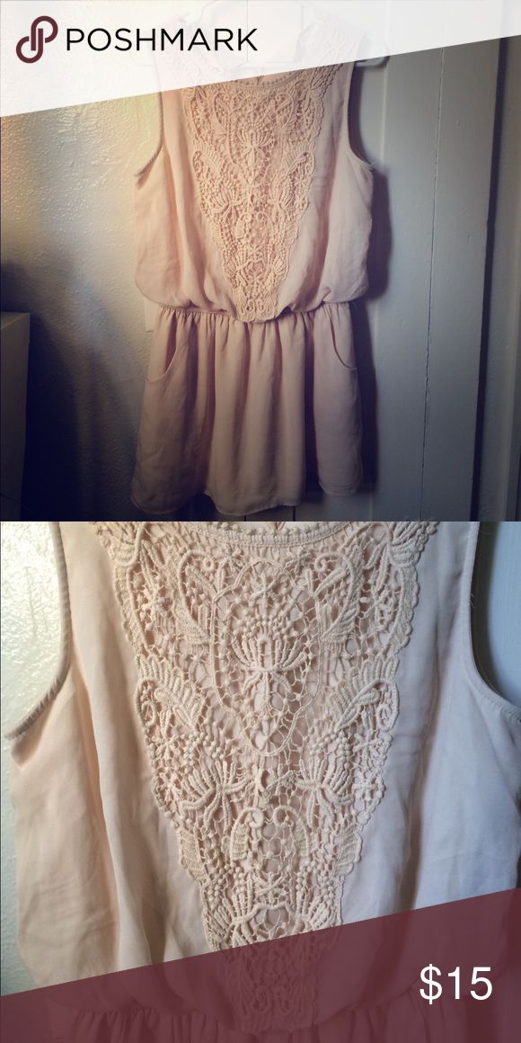 Cream summer dress with embroidered lace details Cute, breezy, short dress with pockets and blouson waist. Forever 21. Brand new with tags. Forever 21 Dresses Mini