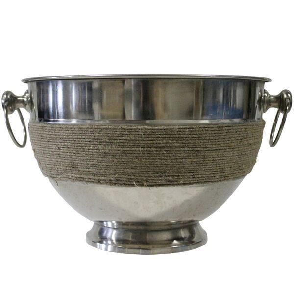 Edison Champagne Bucket || Silver champagne bucket with ring handles and jute details. Dimensions: 15 1/4 x 10 1/2. Quantity: 2.