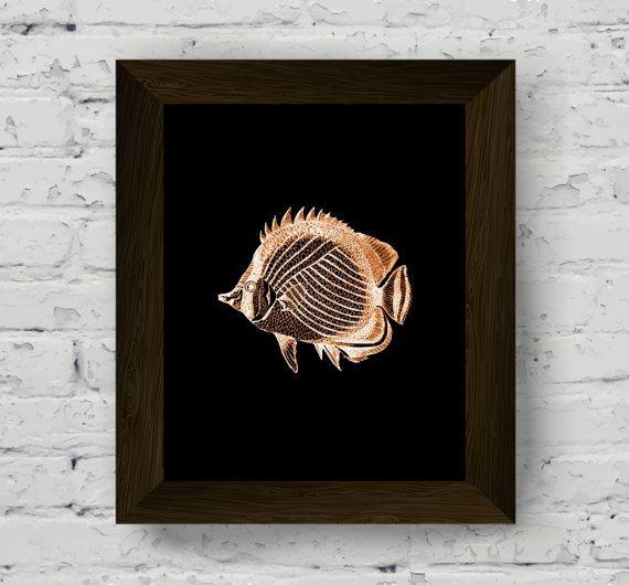 fish wall art, nautical print, coastal wall decor, home beach, printable artwork, instant digital download