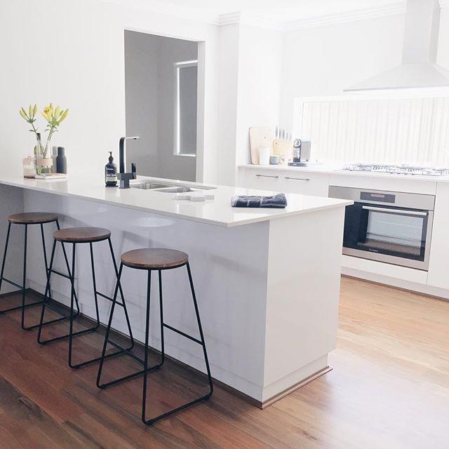 // WHITE KITCHEN 💕 White kitchen, splashback window, kitchen, black tap kitchen