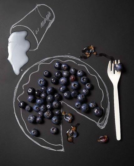 Blueberry pie & milk chalk drawing art
