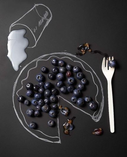 Blueberry pie milk drawing art