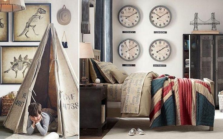 chambre avec déco New York-Londres-Bretagne de style vintage avec tipi