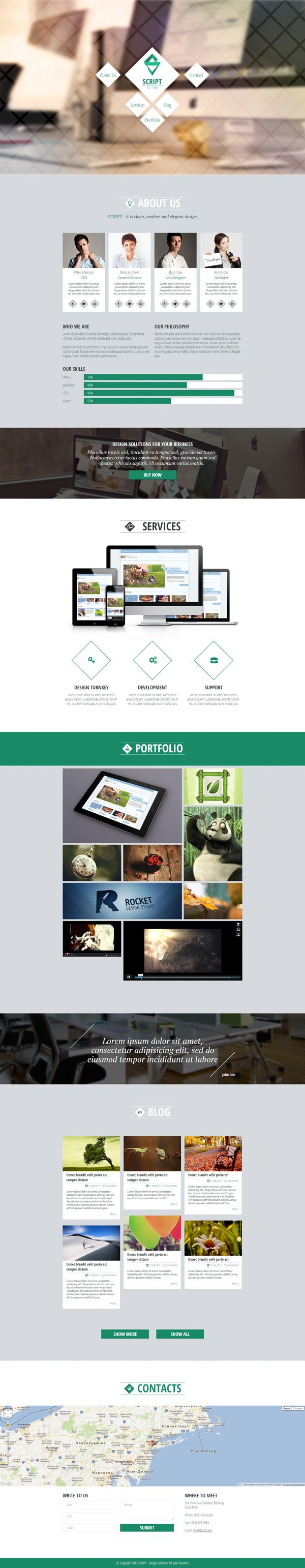 Script - HTML5 One Page Template by Zizaza - design ocean , via Behance