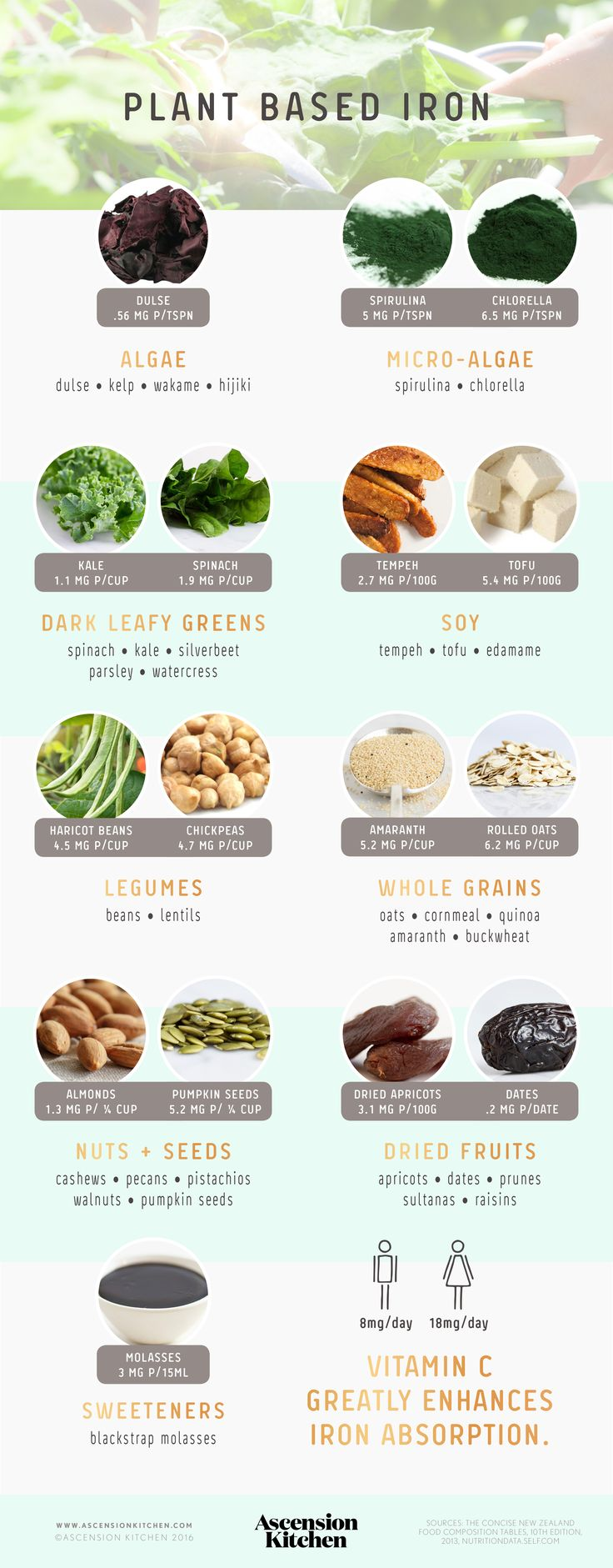 Vegan sources of Iron // Iron on a Plant Based Diet - iron is inhibited and enhanced by various dietary factors - learn how to optimise absorption of this vital mineral.  https://ascensionkitchen.com/iron-on-a-plant-based-diet/