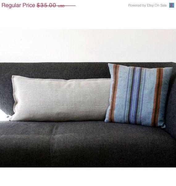 SULLA copertina di cuscino lombare in vendita - tessuto di lino naturale grigio - eco amichevole cuscini buttare 14 x 26 on Etsy, 23,76 €
