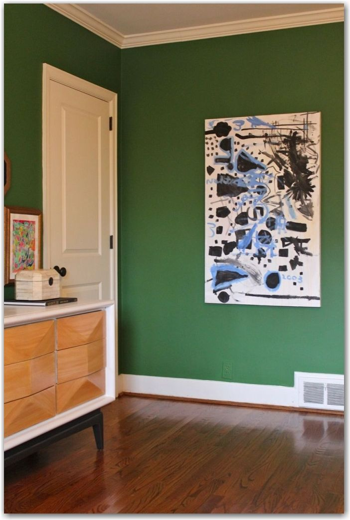 The perfect green- Wall paint:  Benjamin Moore, Vine Green, 2034-20, with two extra shots of red oxide