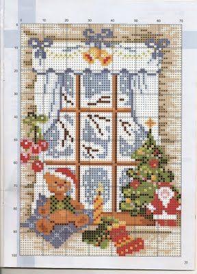 Ponto cruz de natal: Janela de Natal