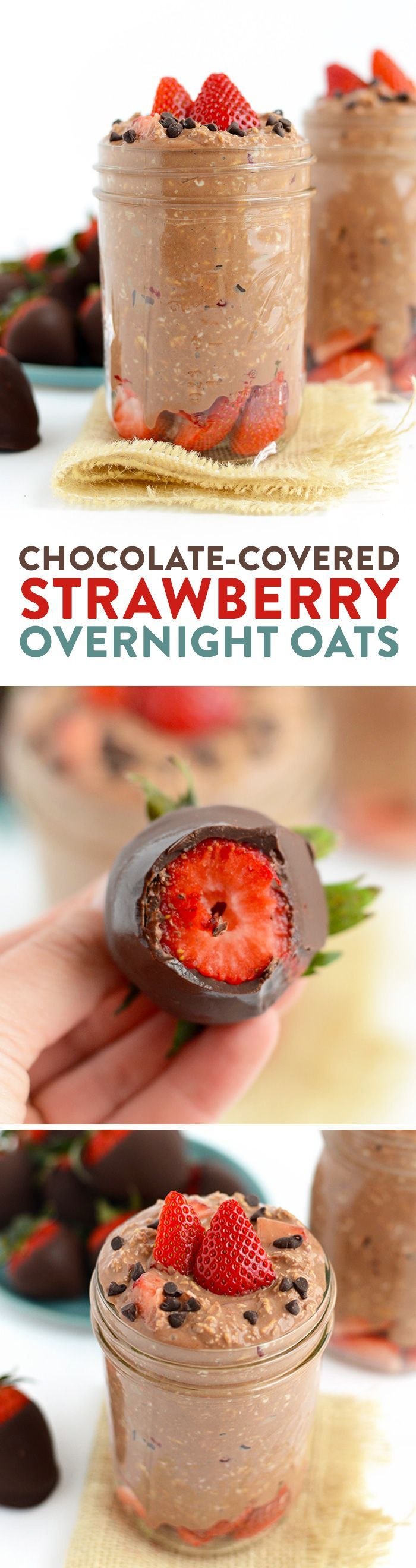 Chocolate covered strawberries for breakfast? YES PLEASE! Make this chocolate covered strawberry overnight oatmeal recipe and get 15 grams protein and a full serving of whole grains for breakfast! It's gluten-free and made with yummy chocolate protein powder, Greek yogurt, and rolled oats.