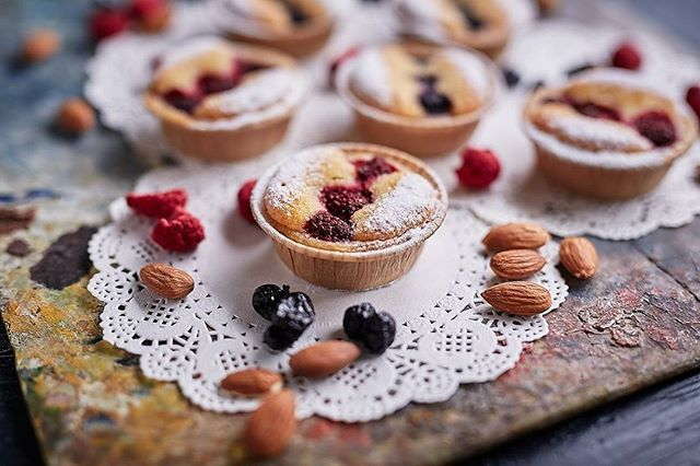 TARTY /. If you have a hankering for a tart why not try our Frangipane & Berry Tart! A cookie pastry tart base with frangipane & berries. YUM!. . . #littlebertha #littleberthatarts #frangipanetart