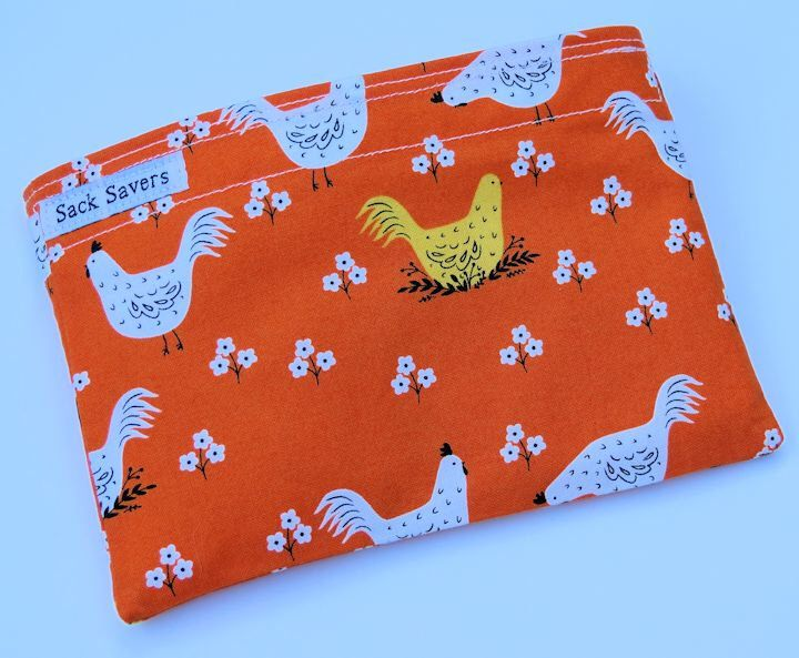 Reusable Sandwich Bag Reusable Snack Bag Eco Friendly Bag Chicken Snack Sandwich Bag by sacksavers on Etsy https://www.etsy.com/listing/384525640/reusable-sandwich-bag-reusable-snack-bag