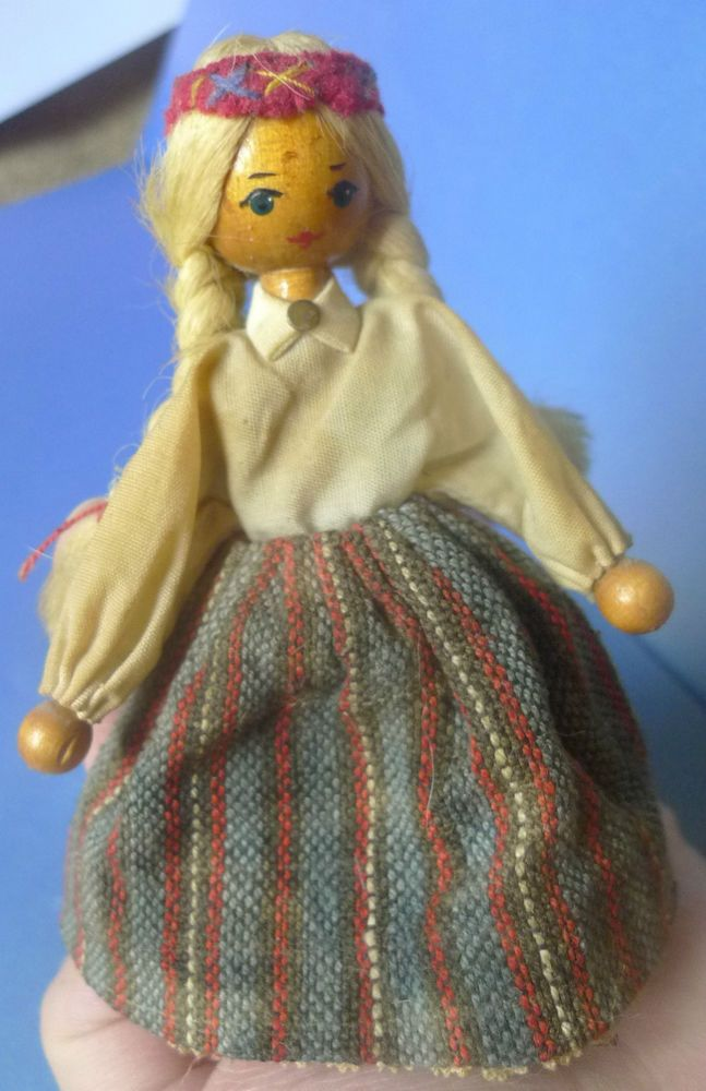 Vintage Soviet Latvian Latvia Wooden Handmade DOLL Ethnic Folk Costume Dress #DollswithClothingAccessories